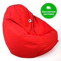Бескаркасное кресло пуф красное размер L