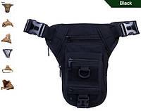 Тактическая наплечная сумка с отделением под пистолет. Олива, чёрный, фото 1
