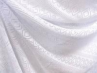 Трикотаж Ажурная симфония (белый) (арт. 2237) 100% хлопок Отрез 0,3 + 0,8 м
