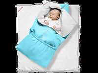"""Одеяло-трансформер Ontario Linen"""" Classic ДОЛМАТИН (85*90 см, цвет - голубой / бязь, силикон 300 / вышивка ("""