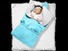 """Одеяло-трансформер """"Ontario Linen"""" Classic ДОЛМАТИН (85*90 см, цвет - голубой / бязь, силикон 300 / вышивка  ("""