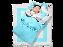 """Одеяло-трансформер """"Ontario Linen"""" Premium ДОЛМАТИН (85*90 см, цвет - голубой / бязь, силикон 300 / вышивка  ("""