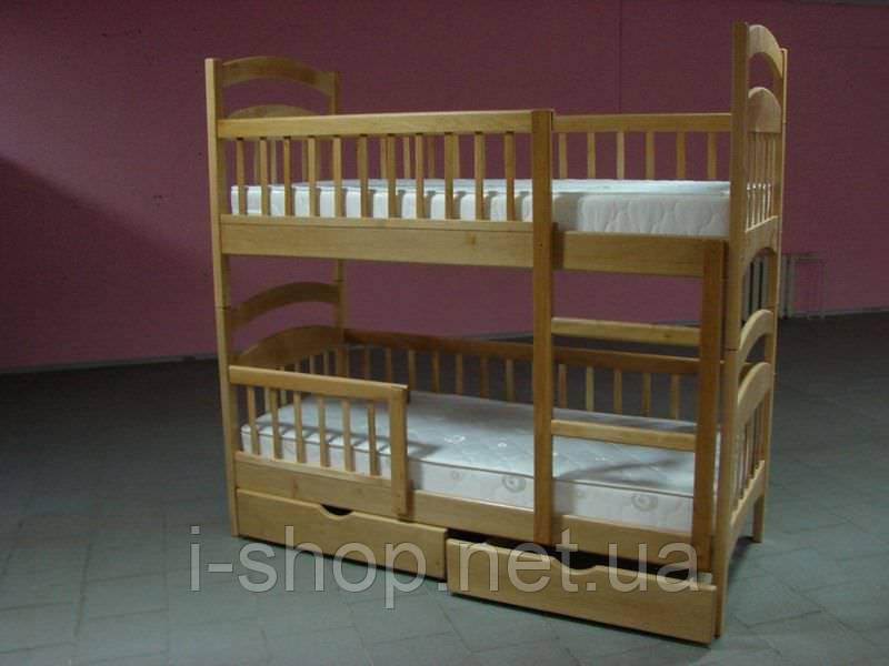 Кровать 2-х ярусная  Карина + нижние перегородки (тонировка орех, венге)