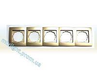Рамка пятирная горизонтальная Nilson Touran Metallik золото