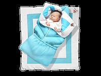 """Одеяло-трансформер """"Ontario Linen"""" Elite ДОЛМАТИН (85*90 см, цвет - голубой / бязь, синтепух 300 / вышивка  (Скидка на доставку Новой почтой - 25%)"""