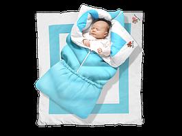 """Одеяло-трансформер """"Ontario Linen"""" Elite ДОЛМАТИН (85*90 см, цвет - голубой / бязь, синтепух 300 / вышивка"""