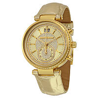 Часы Michael Kors Sawyer Champagne Crystal Pave Dial Leather Band МК2444