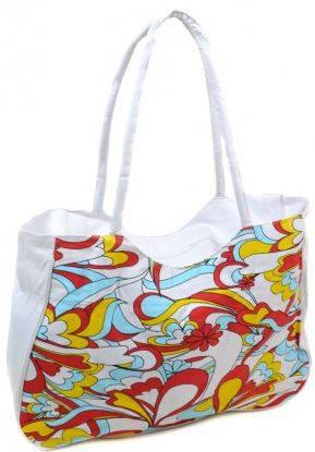 Белая пляжная сумка на молнии с принтом  Podium 1323  white