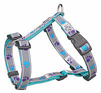 Trixie  TX-12248 шлея для собак Silver Reflect H-Harness  50-75 см / 20 мм