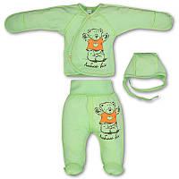 Костюмчик (комплект) на выписку р. 56 для новорожденного летний ткань КУЛИР-ПИНЬЕ 100% хлопок 3157 Зеленый