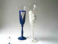 Свадебные бокалы синие с белым, фото 1