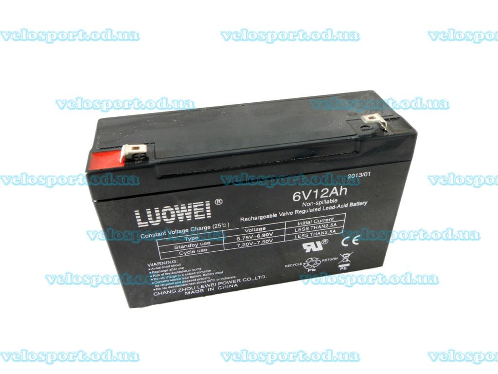 Свинцово-кислотный аккумулятор на 6V/12Ah необслуживаемый