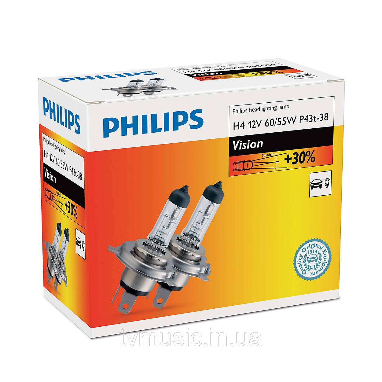 Галогенные лампы Philips Vision H4 12V (12342PRC2)