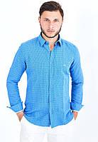 Мужская рубашка с длинным рукавом  Utes синяя 100% хлопок