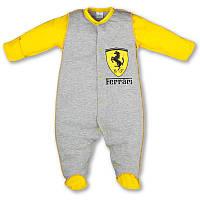 Человечек для новорожденного Ferrari р. 74 тонкий ткань КУЛИР-ПИНЬЕ 100% хлопок ТМ ПаМаМа 3162 Светло-серый