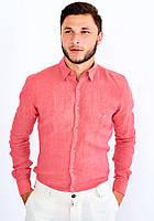 Мужская рубашка с длинным рукавом  Utes коралловая 100% хлопок