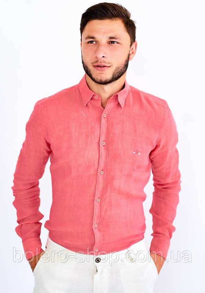 86fcf1c0eb681a8 Мужская рубашка с длинным рукавом Utes коралловая 100% хлопок размер S -  Магазин брендовой женской