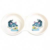 Миска двойная керамическая для кота, Трикси 4014