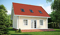 Недорогой в строительстве и эксплуатации дом с двускатной крышей МS100