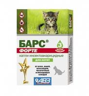 Барс Форте АВЗ капли от блох и клещей для кошек для котят
