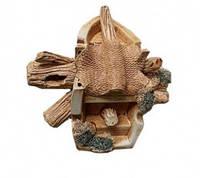 Декорация для Аквариума Керамика Маленькая коряжка с лодочкой Ф № 86