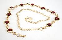 Яркий женский поясок цепочка золотистого цвета с красными камнями