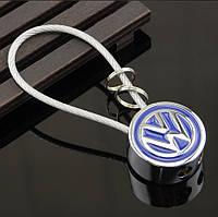 Брелок круглой формы с логотипом Volkswagen, хром/синий