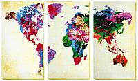 Набор для вышивания бисером Карта мира (триптих)