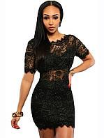 Черное кружевное короткое нарядное платье