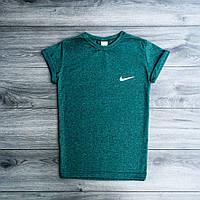 Футболка Nike стрейчевая зеленая, молодежная