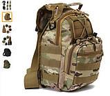 Тактичний рюкзак однолямочный. Чорний, мультикам, олива, койот (пісок), фото 3