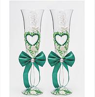 Свадебные  бокалы, изумрудные