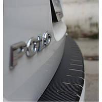 Накладка с загибом на бампер карбон для Skoda Rapid '13- (Premium+k)
