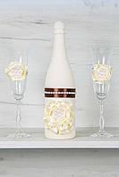 Свадебный набор для шоколадной свадьбы: шампанское и бокалы