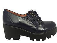 Туфли кожаные,цвет синий