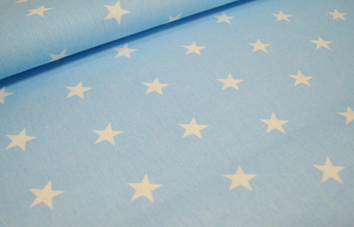 Хлопковая ткань польская белые звезды на голубом