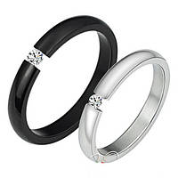 Парные кольца с цирконием Стражи Мира нержавеющая медицинская сталь