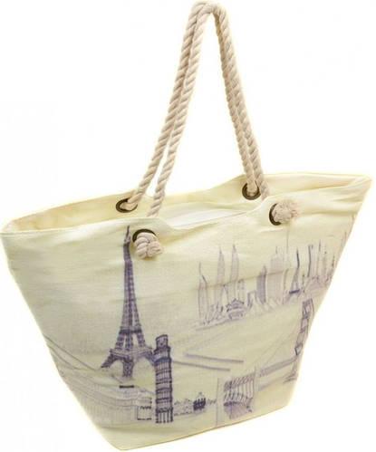 Белая пляжная сумка с принтом Парижа Podium PC 9140-1 white