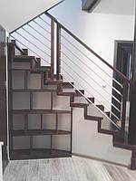 Лестница в современном стиле c нержавейкой, фото 1
