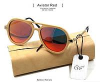 Солнечные очки с деревянной оправой Aviator Red W009