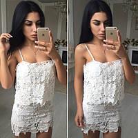 Женское красивое стильное белое нарядное платье с кружевом