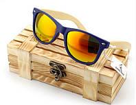 Стильные очки деревянные Style Navy\Yellow W018