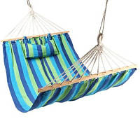 Гамак садовый для отдыха 100х200 см, плотная хлопчатобумажная ткань, перекладины, подушка, до 120 кг