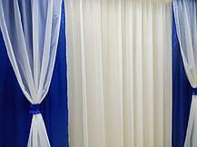 """Комплект штор """"Посейдон""""+ламбрекен+тюль (синий), фото 3"""