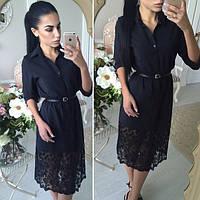 Женское черное платье-рубашка с гипюром, фото 1