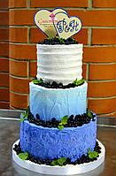 Лучший свадебный торт  в синем цвете