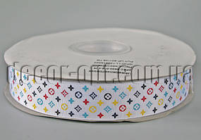 Лента репсовая белая брендированная 2,5 см 1м