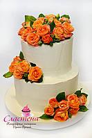 Лучший свадебный  торт  c живыми цветами