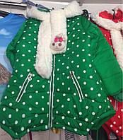 Детская демпсезонная куртка для девочек оптом на 4-7 лет зеленая