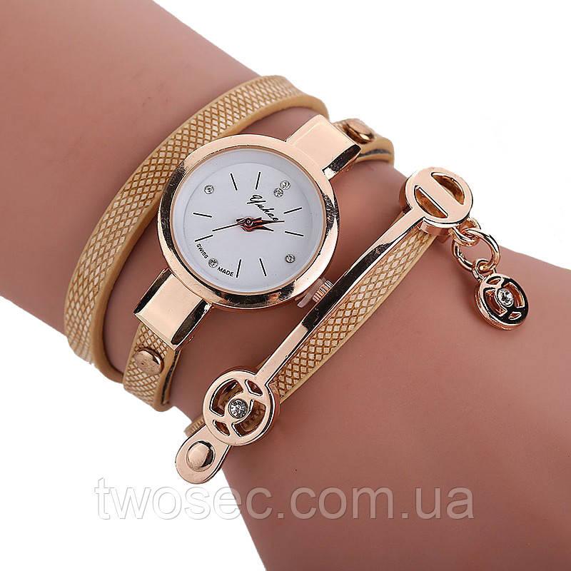 Женские наручные золотые часы-браслет кварцевые Duoya с золотым браслетом
